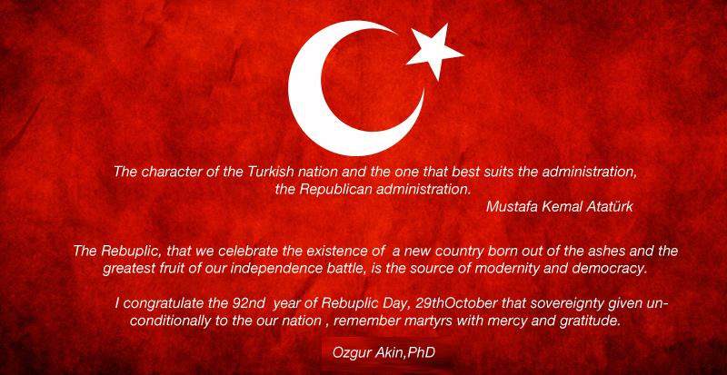 Congratulation Message for October 29 Republic Day of Turkey by Ozgur Akin Phd The Chairman of The Board of AKINSOFT