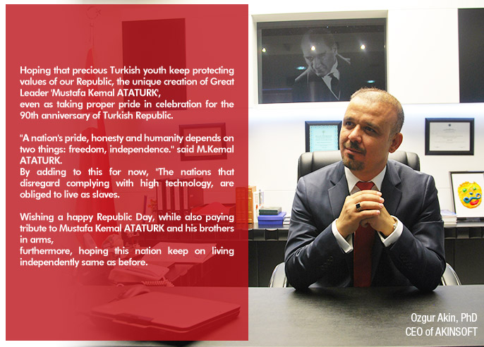 Board Chairman of AKINSOFT Dr Ozgur Akins Message for October 29  Republic Day