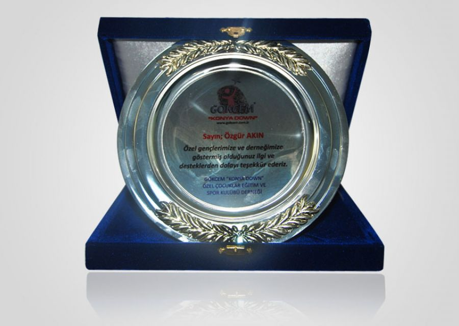 A thank you plaque from Gökçem Special Education and Sports Club Association Cafe  Bistro to Dr Özgür AKIN who is Chairman of the Board of AKINSOFT - 1